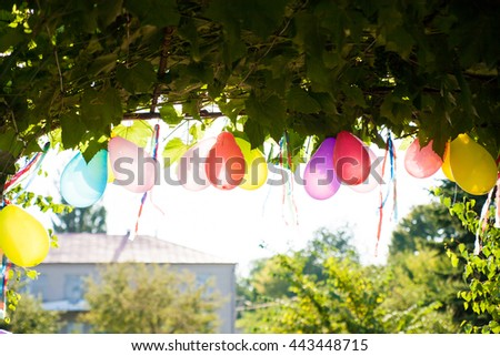 beautiful colored balloons decorate the yard. Celebration