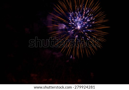 beautiful colored fireworks in the summer night sky