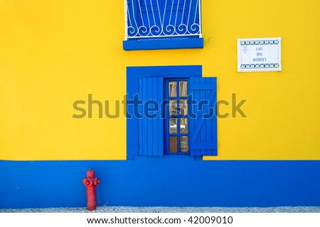 Beautiful colored houses, windows and lanterns - stock photo