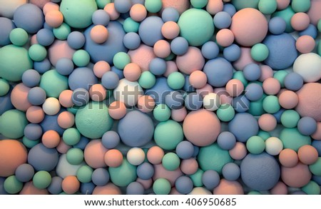 Beautiful colorful background of blue, pink, light green and white balls of different sizes. Creative design. - stock photo