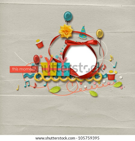 beautiful colorful birthday layout with frame and fun elements - stock photo