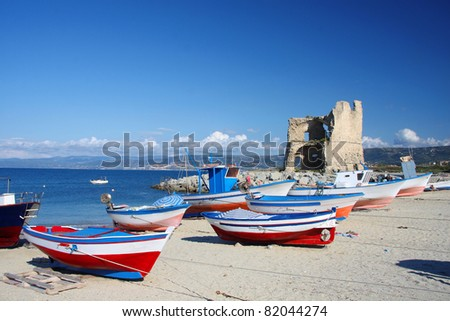 Beautiful colorful boats in harbor, Briatico, Calabria, Italy - stock photo