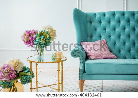 Beautiful Colorful Bouquet Of Hydrangeas Is In A Vase On A Table With  Candles Near The Part 88