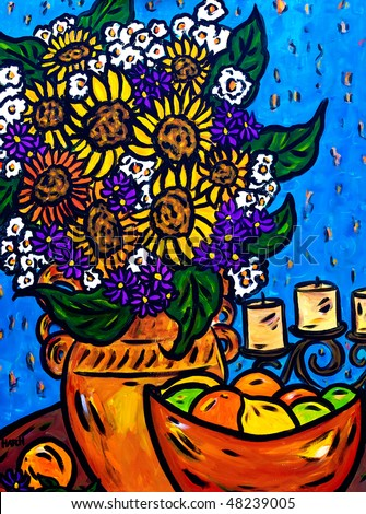 Beautiful, colorful, bright, still life acrylic painting of a vase of flowers and fruit