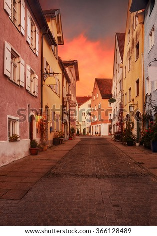 Beautiful colorful buildings in Fussen, Bavaria.