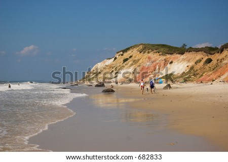 Beautiful colorful cliffs at Martha's Vineyard Gay Head Beach - stock photo
