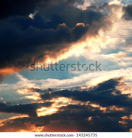 Beautiful colorful clouds and sky at sunset - stock photo