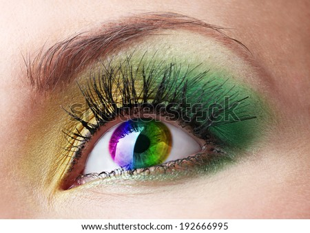 Beautiful colorful eye close up - stock photo