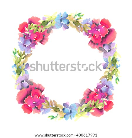 Beautiful colorful  floral frame. Summer flowers wuert.  Watercolor. - stock photo