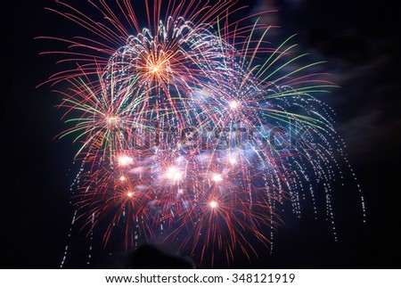 Beautiful colorful holiday fireworks on the black sky background - stock photo