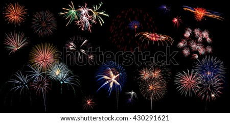 Beautiful colorful holiday fireworks panoramic view - stock photo