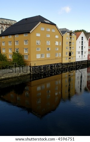 Beautiful colorful houses by the river, Trondheim, Norway