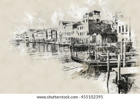 Beautiful colorful image of a canal in Venice . Vintage painting, background illustration, beautiful picture, travel texture