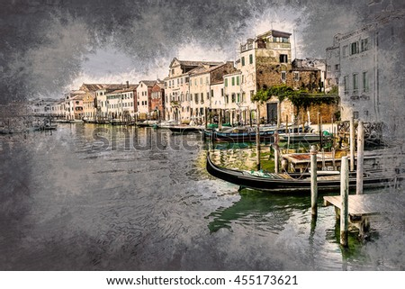 Beautiful colorful image of a canal in Venice . Vintage painting, background illustration, beautiful picture, travel texture - stock photo
