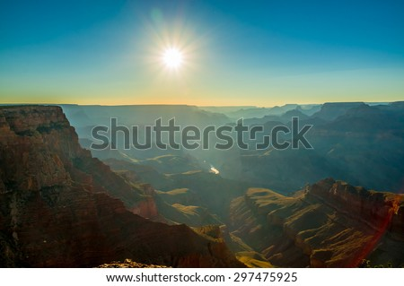 beautiful colorful landscape grand canyon national park arizona sun rays - stock photo