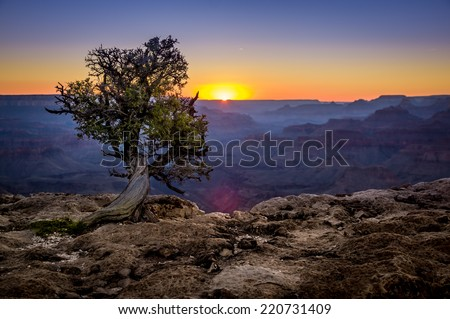beautiful colorful landscape sunset in grand canyon national park arizona - stock photo