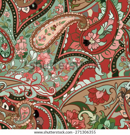 beautiful colorful paisley seamless background - stock photo
