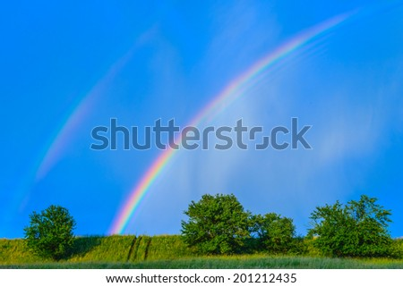 Beautiful colorful rainbow in blue sky after rain - stock photo