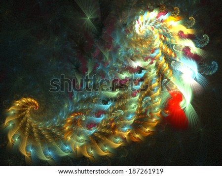 Beautiful colorful spiral. Digitally generated fractal pattern. Can be used as a design element or a background. The image contains black, yellow, and green colors. - stock photo