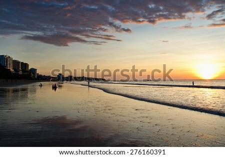 Beautiful colorful sunset at the beach in Manta, Ecuador - stock photo