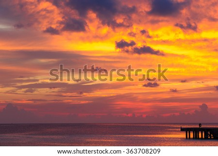 Beautiful colorful sunset at tropical island on Maldives in Indian Ocean - stock photo