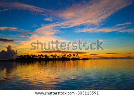 Beautiful colorful sunset in tropical island at Maldives - stock photo