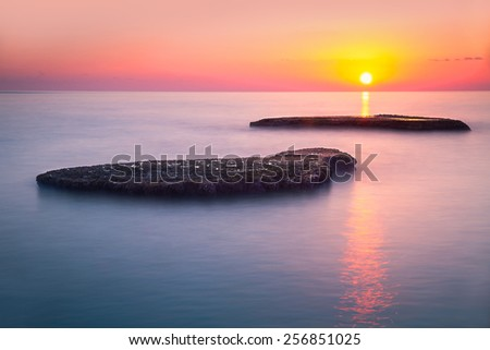 Beautiful colorful sunset over sea, Lebanon, Mediterranean sea, amazing landscape, calm evening seascape, beauty of nature - stock photo