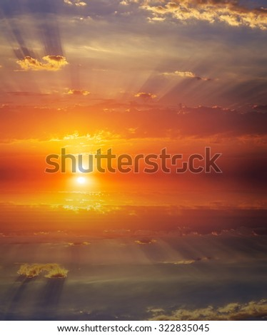 Beautiful colorful sunset sky and ocean. Sky background
