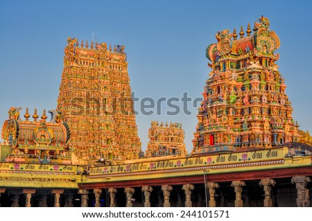Beautiful colorful towers of Meenakshi Amman Temple in India - stock photo