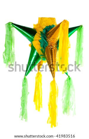 Beautiful colorful traditional mexican pinata isolated in white background - stock photo