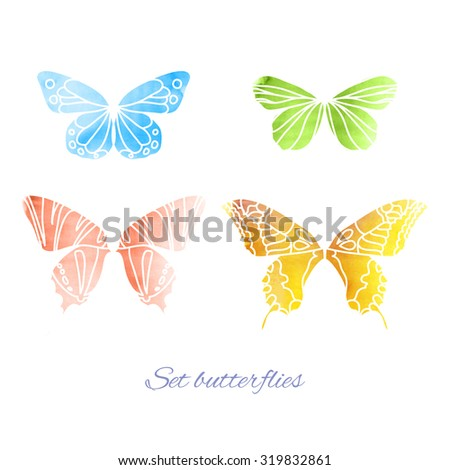 Beautiful Colorful Watercolor of flying Butterflies for your Design. Collection Vector Elements isolated on white Background
