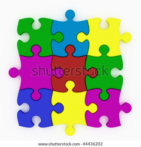 Beautiful colorized Puzzles on white background.
