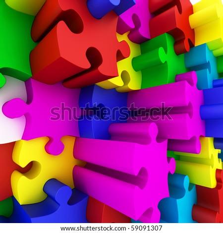 Beautiful colorized Puzzles on white background. - stock photo