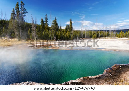 Beautiful colors in sunny day, Yellowstone National Park, Wyoming - stock photo