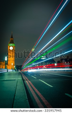 Beautiful colors of Big Ben from Westminster Bridge - stock photo