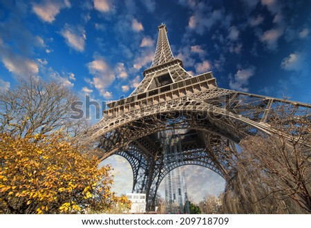 Beautiful colors of Eiffel Tower and Sky of Paris - stock photo