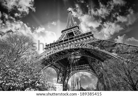 Beautiful colors of Eiffel Tower and Sky of Paris. Black and white processed - stock photo