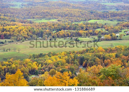Beautiful colors of fall.view of Shanandovah valley. USA - stock photo