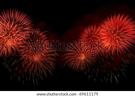 Beautiful colors of fireworks night - stock photo