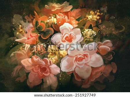 beautiful colors of flowers.digital painting - stock photo