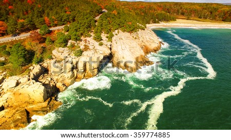 Beautiful colors of New england foliage. Aerial bird eye view. - stock photo