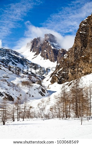 Beautiful colors on Alps close to Switzerland/Italian borders - stock photo