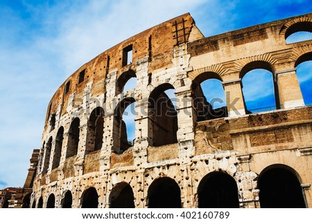 Beautiful Colosseum in Rome, Italy  in summer. - stock photo