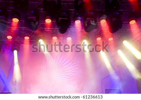 Beautiful Colourful disco lighting in the stage - stock photo