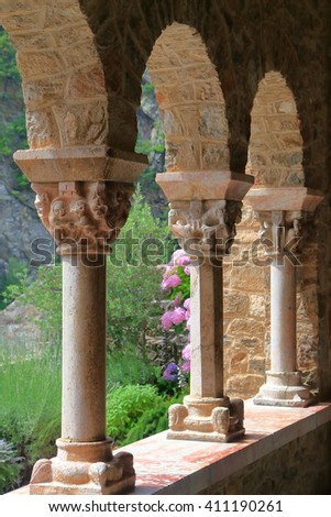 Beautiful columns decorate the cloister of St Martin du Canigou monastery, Pyrenees-Orientales department, France