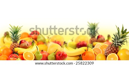 beautiful composition from fresh fruit - stock photo