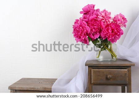 Beautiful composition with pink peonies - stock photo