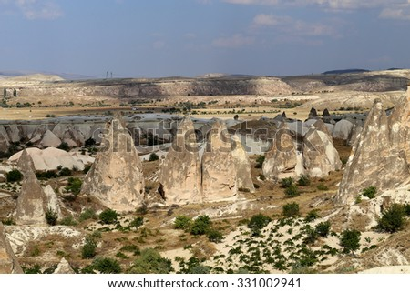 Beautiful cone rock in Cappadocia Turkey is photographed close-up