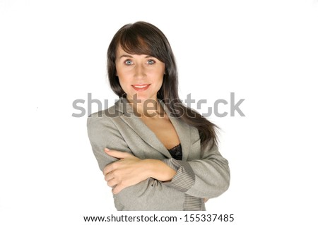 Beautiful confident brunette business woman standing portrait isolated - stock photo