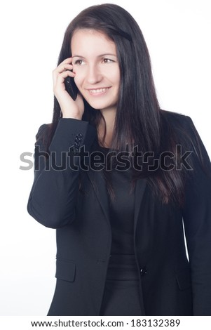 Beautiful confident young business woman with cross hands isolated on white. Business concept and style.